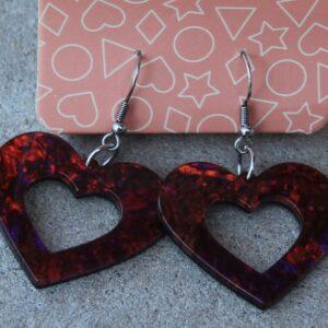 Erstwilder Earrings – Heart Cut Out Deep Reds