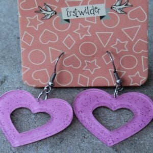 Erstwilder Earrings – Heart Cut Out Pink Sparkle