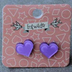 Erstwilder Stud Earrings – Heart Purple