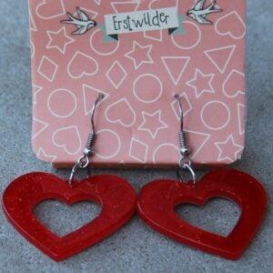Erstwilder Earrings – Heart Cut Out Red Sparkle