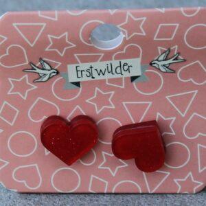 Erstwilder Stud Earrings – Heart Red Sparkle