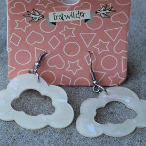 Erstwilder Earrings – Cloud Cut Out White Sparkle