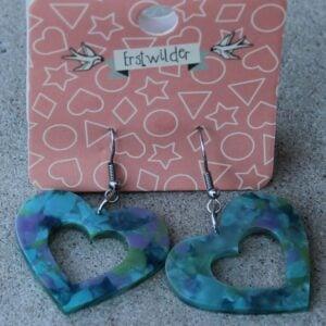 Erstwilder Earrings – Heart Cut Out Patchwork Green
