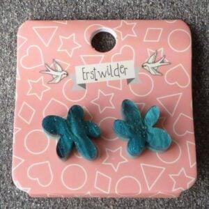 Erstwilder Stud Earrings – Flower (Green Swirl)
