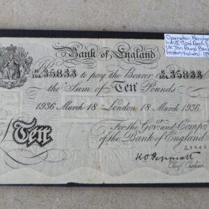 WWII Era Forged English Ten Pound Note – Operation Bernhard