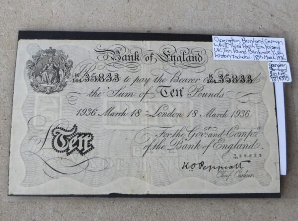 morpeth antique centre english ten pound note german forgery banknote wwII era