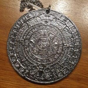 Aztec Calendar & Sun Stone Pendant & Chain