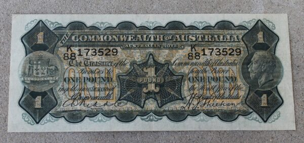 morpeth antique centre hunter valley australian one pound banknote george v 1932 riddle sheehan commonwealth