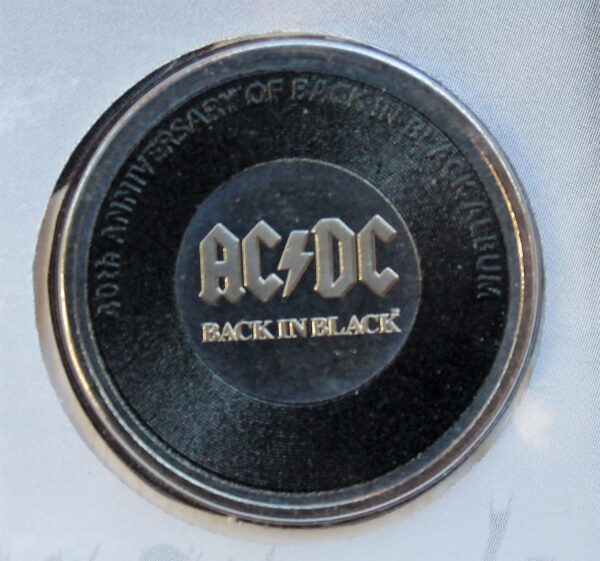 morpeth antique centre hunter valley acdc one dollar silver frosted coin limited edition highway to hell dirty deads tnt dynamite rock aussie australian band rock back in black ballbreaker high voltage pnc