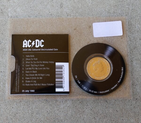 morpeth antique centre hunter valley acdc one dollar silver frosted coin limited edition highway to hell dirty deads tnt dynamite rock aussie australian band rock back in black lp vinyl record