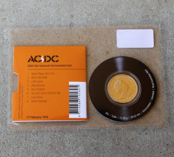 morpeth antique centre hunter valley acdc one dollar silver frosted coin limited edition highway to hell dirty deads tnt dynamite rock aussie australian band rock back in black high voltage