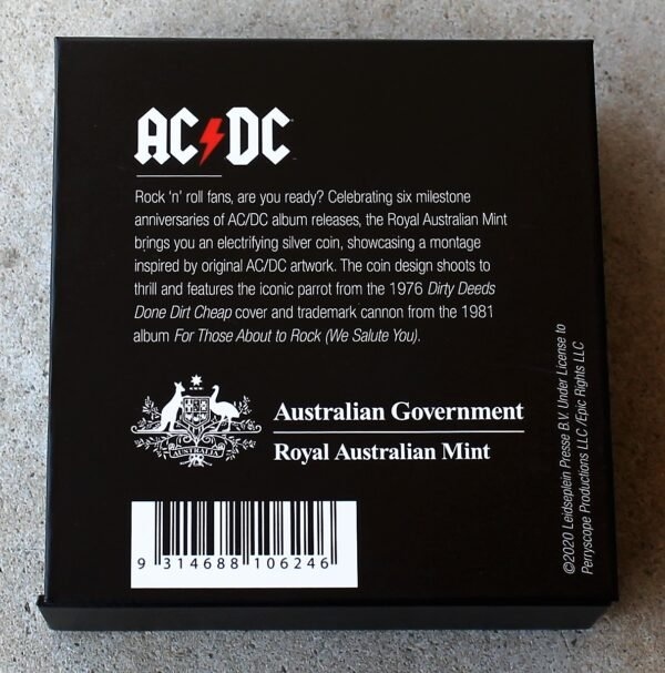 morpeth antique centre hunter valley acdc one dollar silver frosted coin limited edition highway to hell dirty deads tnt dynamite rock aussie australian band rock back in black