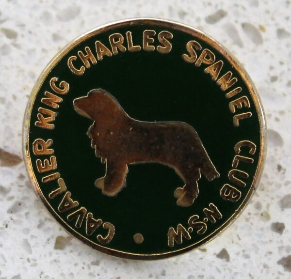 morpeth antique centre hunter valley cavalier king charles spaniel club new south wales dog badge pin