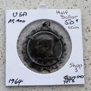JFK Half Dollar Coin Pendant