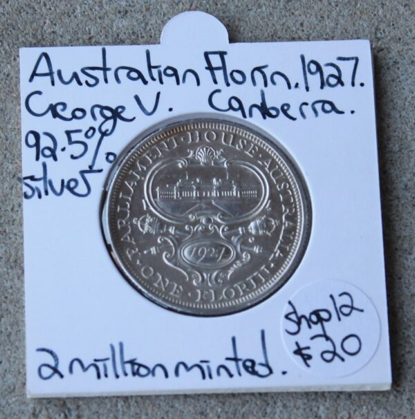 morpeth antique centre hunter valley australian pre decimal currency florin 1927 silver old parliament house george V fifth commemorative