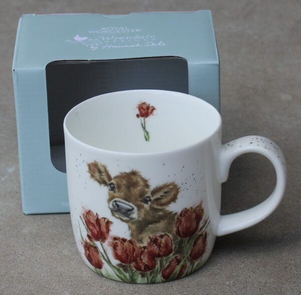morpeth gift gallery hunter valley bessie wrendale mug royal worcester fine bone china porcelain england india moo cow jersey guernsey swiss tulip brown Christmas