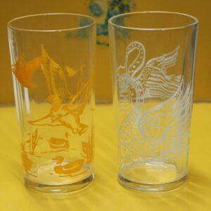 Swan & Ducks Glass Set of Two