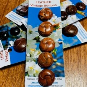Leather Vintage Buttons x 5 (code 035)