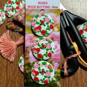Wood Buttons x 3, Pink & Red Roses, NEW (code 043)
