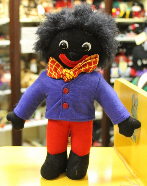 morpeth antique centre hunter valley golly golliwogg merrythought made in england united kingdom ollie blue stripe red