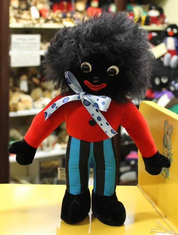 morpeth antique centre hunter valley golly golliwogg merrythought made in england united kingdom gregory blue stripe red