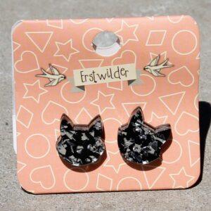 Erstwilder Earrings – Cat Face Stud Silver Glitter
