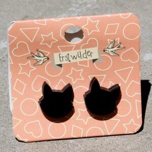 Erstwilder Earrings – Cat Face Stud Black