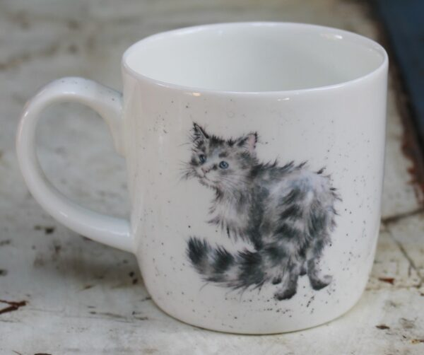 morpeth gift gallery wrendale royal worcester mug lady of the house cat kitten tabby persian grey