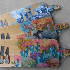 Serving Platter with Cheese Knives – Guinea Fowl Grey