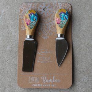Cheese Knife Duo – Guinea Fowl Rainbow