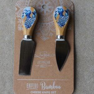 Cheese Knife Duo – Guinea Fowl Blue