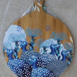Serving Platter Round – Guinea Fowl Blue
