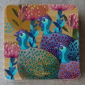 Coaster Set of Four – Guinea Fowl Rainbow