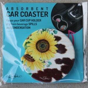 Car Coaster – Sunflower & Cow Hide