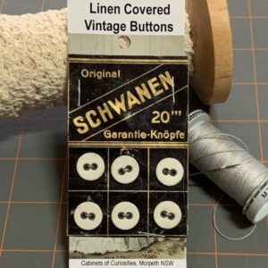 Linen Covered Buttons, Vintage x 6 (code 082)