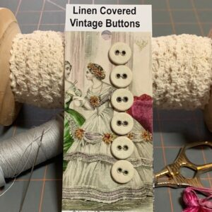 Linen Covered Buttons, Vintage x 6 (code 084)