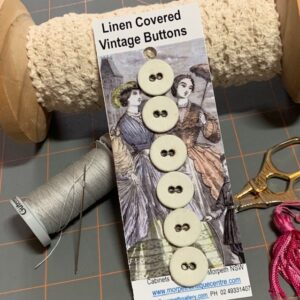 Linen Covered Buttons, Vintage x 6 (code085)