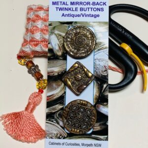 Metal Mirror-back Twinkle Buttons, Vintage x 3, (code 083)