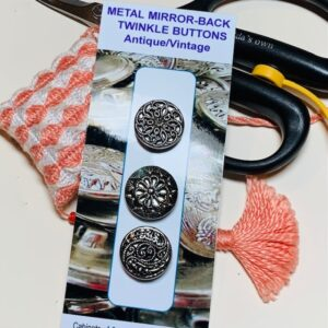 Metal Mirror-back Twinkle Buttons, Vintage x 3 (code 092)