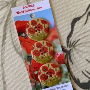Wood Poppy Buttons, NEW x 3