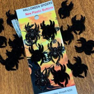 Halloween Spider Buttons x 6, NEW plastic