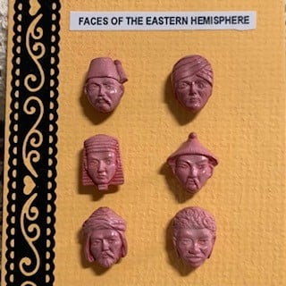 Morpeth antique centre buttons shop 4 hunter valley set of Goofie novelty vintage faces of the eastern hemisdphere